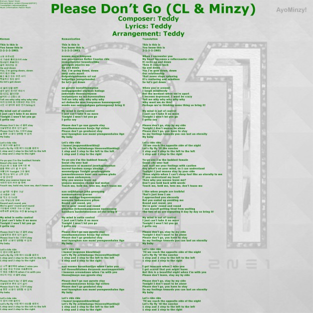 08 Please Don't Go (CL&Minzy)