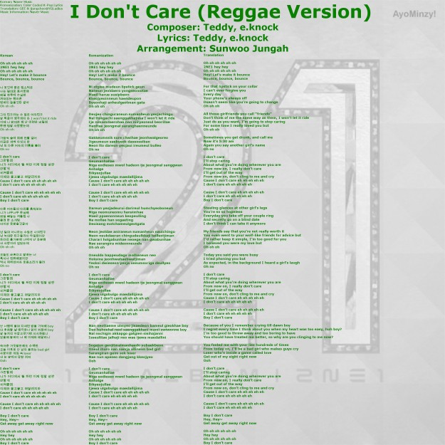 11 I Don't Care (Reggae Version)