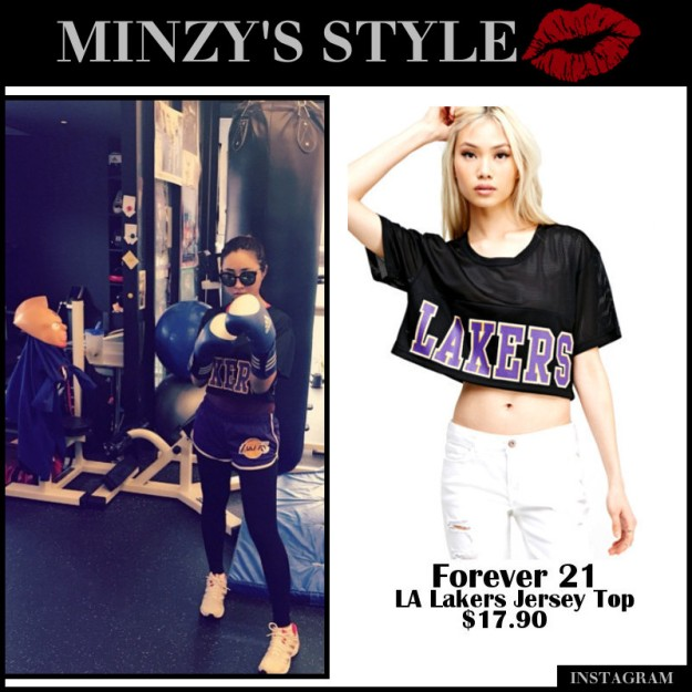 789ce94fae4 Minzy wearing a Forever 21 LA Lakers Jersey Top for  17.90. Minzy also  wearing Forever 21 LA Lakers Athletic Shorts for  15.90.